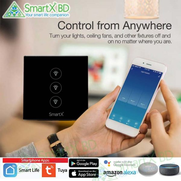 3 Gang WiFi Touch Switch Black